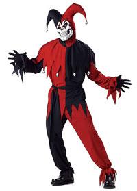 Röda och Svarta onda Jester en vuxen dräkt - läskiga Costumes 49ba6eb622fbf