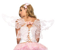 Rosa glitter ringkabelsko Fairy Wings - Fairy Costume Accessories