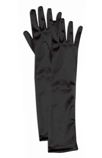 Flickor svart Satin Opera Handskar - Costume Gloves