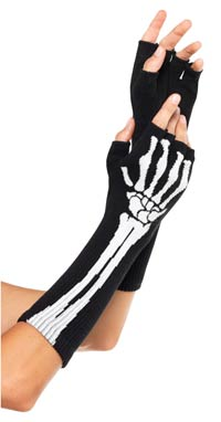 Skelettet avklippta handskar - Costume Gloves