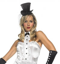 Svart Mini glitter Top Hat - sexiga Costumes