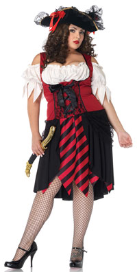 Plus Size Crimson Pirate dräkten - piraten Costumes