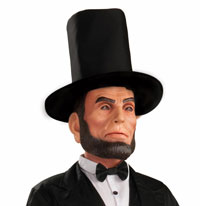 Lincoln Latex Mask med Hat - Lincoln Costumes