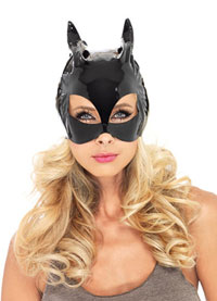Svart Vinyl Cat Mask - katt Costumes