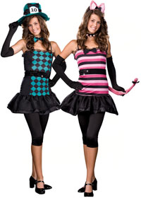 Teen vändbar Mad Hatter & Cheshire Cat Costume - Teen Costumes