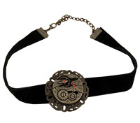 Antika Black Velvet steampunk-växel Choker - steampunk-dräkt Accessories